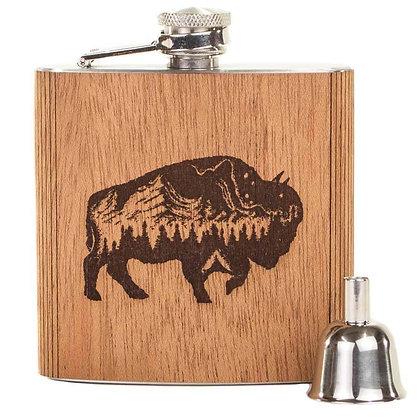Wood Flask - Buffalo 6 oz