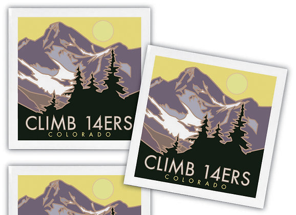 Climb 14ers Ceramic Coaster