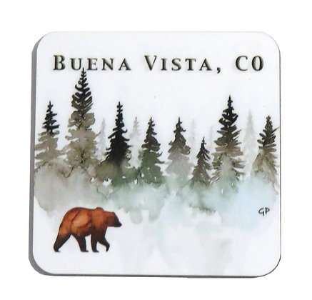 Buena Vista, CO Bear Evergreen Coaster