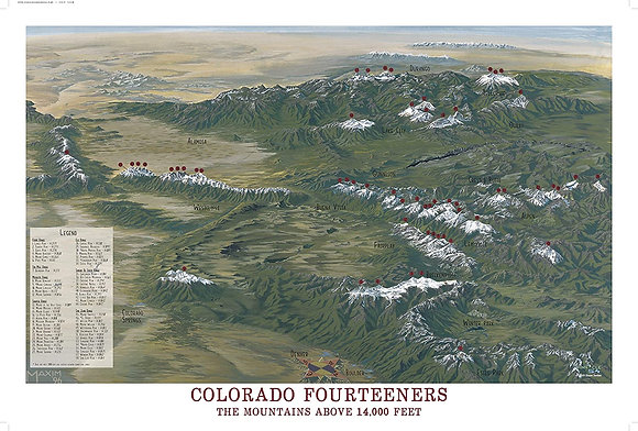 Colorado Fourteeners Poster