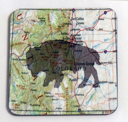 Bison Colorado Map - Coaster