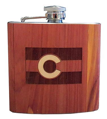 Wood Flask - Colorado Flag - 6 oz