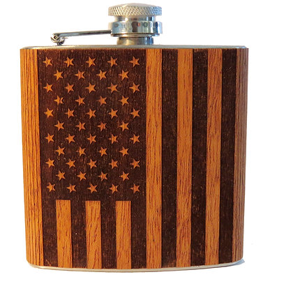 Wood Flask - American Flag - 6 oz