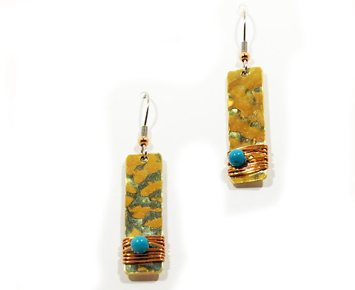 Turquoise, Copper and Brass Earrings