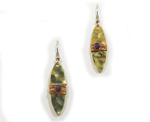 Amethyst, Copper and Brass Earrings