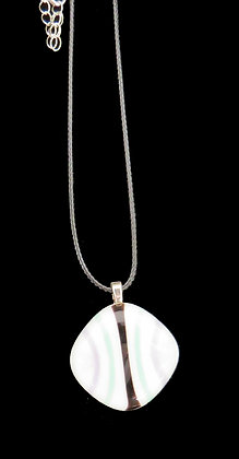White With Color Glass Infused Pendant