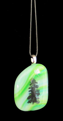 Green Color With Tree Glass Infused Pendant