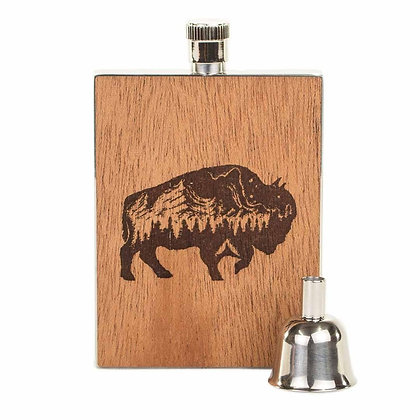 Wood Flask - Buffalo 3oz