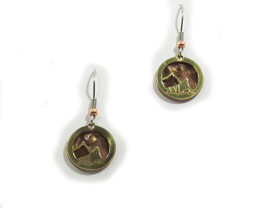 Copper and Brass Mountain Earrings
