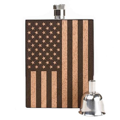 Wood Flask - American Flag - 3oz