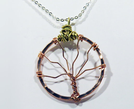 Copper and Brass Tree Necklace