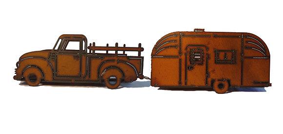 Metal Rustic Pick-up Truck & Camper Planter