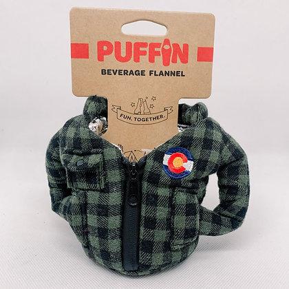 Puffin Flannel Beverage Cooler