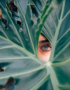 woman looking through leaves