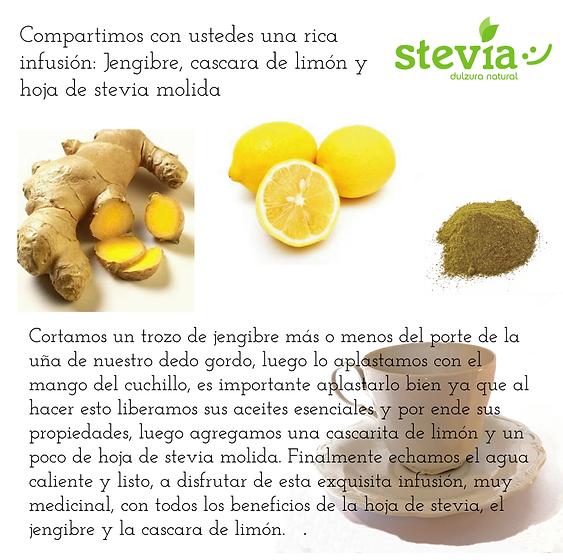 Infusión de jengibre, limón y stevia