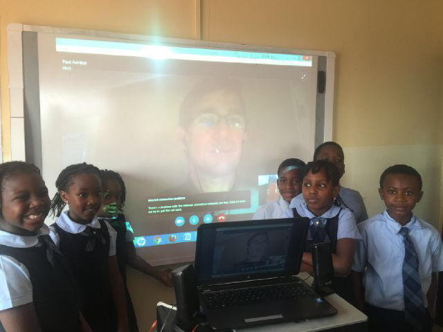Skype with international author. World classroom