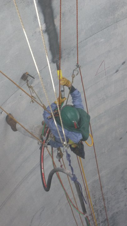 Rope Access abrasive blasting