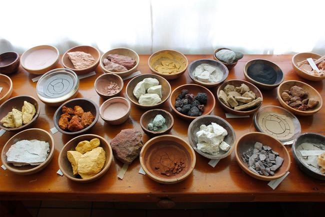 Raw pigment materials.