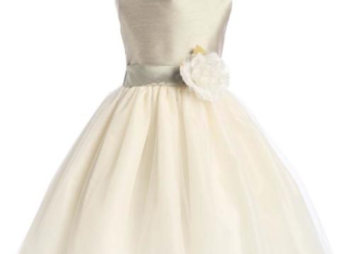 Shantung petal dress (ivory & Sage) Flower Girl