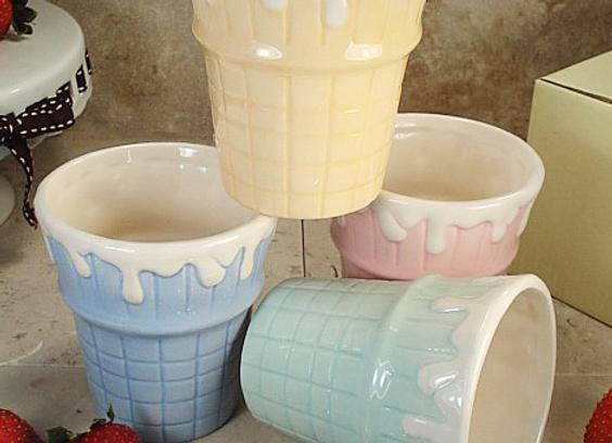 CC781-4 -Cone Ceramic Ice Cream Cups (set of 4)