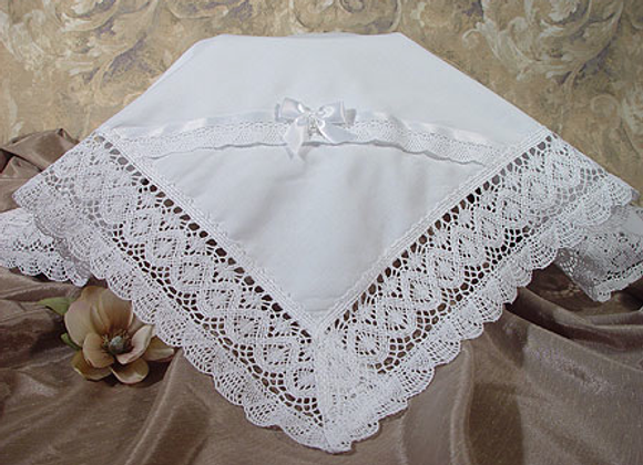 Cotton batiste blanket with lace trim - CAC25BK