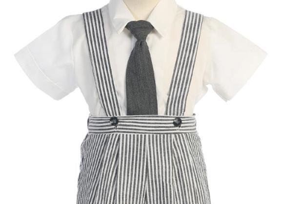 Infant Seersucker suspender shorts set -G822