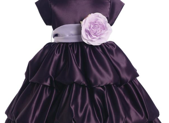 Satin bubble dress (eggplant)