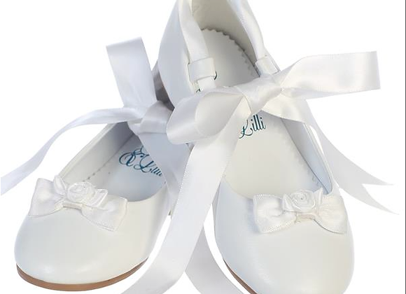 Flower Girl Ballerina Flats - big girl - ivory