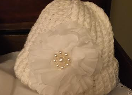 Handmade Knit Infant Hat with Pearl flower
