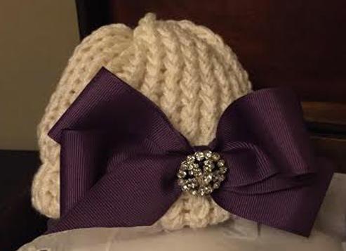 Handmade Newborn Knit Infant Hat with Plum Bow