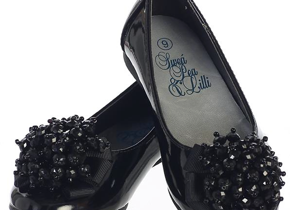 Girls Black Flats w/ crystal bead-black