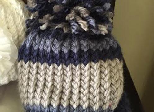 Handmade Boys Infant Knit hat w/ Oversized Pom Pom