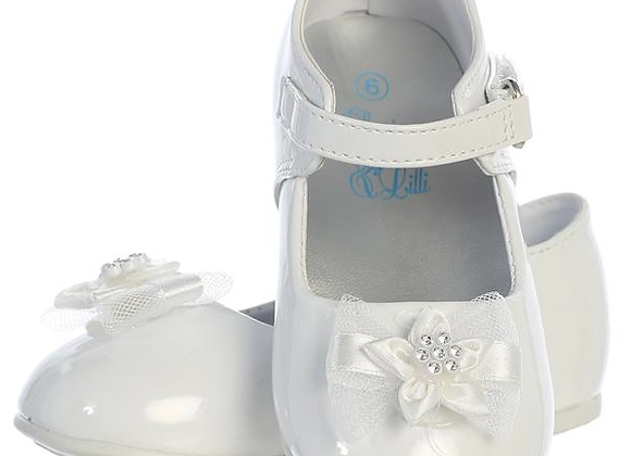 Flower Girl Infant shoe with bow - white