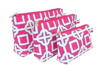 Pink Charmer 3 Piece Cosmetics Tote