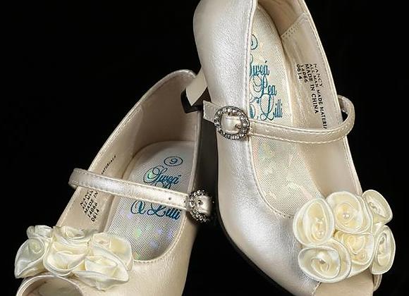 Flower Girl Shoe - flowers & heels -ivory