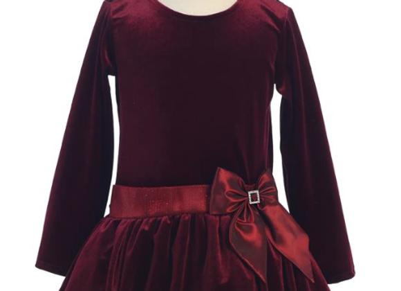Sugar Plum Velvet Holiday Bubble Dress -Burgundy
