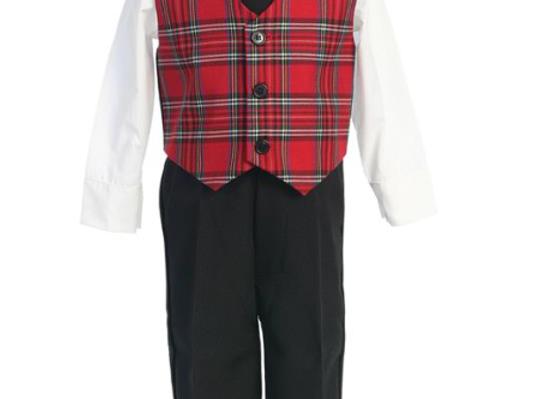 Red Plaid vest set