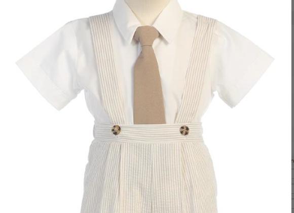 Toddler Seersucker suspender short set - G822
