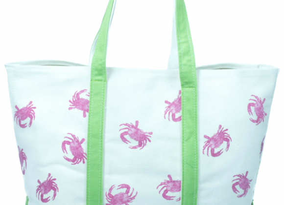 CRABBERRIE Pink & Green Crab Tote