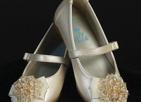 Flower Girl infant beads & bow shoe - ivory