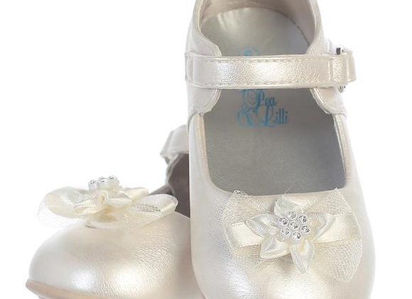 Flower Girl Infant shoe with bow - ivory