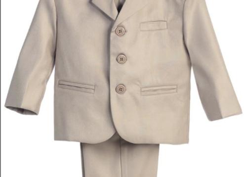 Boys 3 Button Suit Set - 3710 Khaki