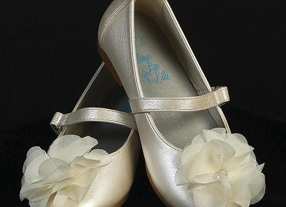 Flower Girl shoe- Flower &Rhinestones-ivory infant