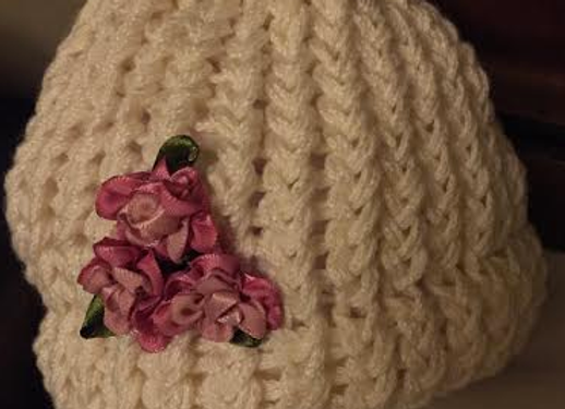 Handmade Knit Infant Hat with Antique Rose flowers