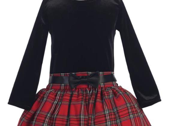 Long Sleeve Red Plaid Dress