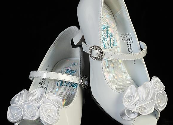 Flower Girl Shoe - flowers & heels -white