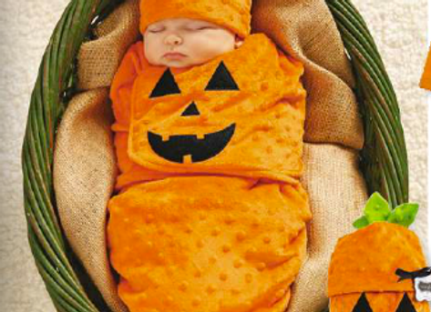 Mud Pie - Pumpkin Swaddle Bunting & Cap Set