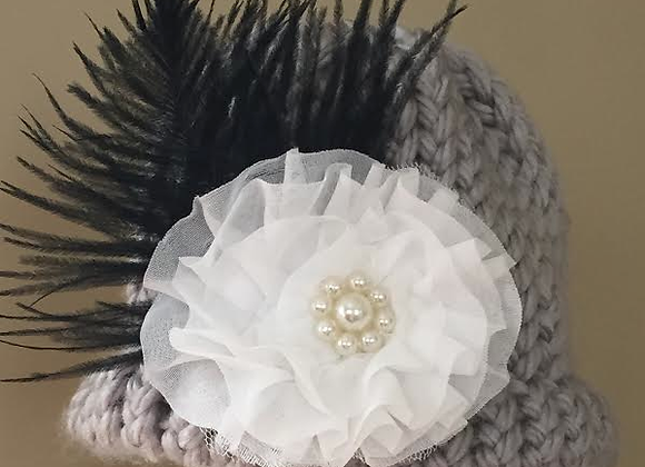 Knit New born Hat w/ blk feather & white flower