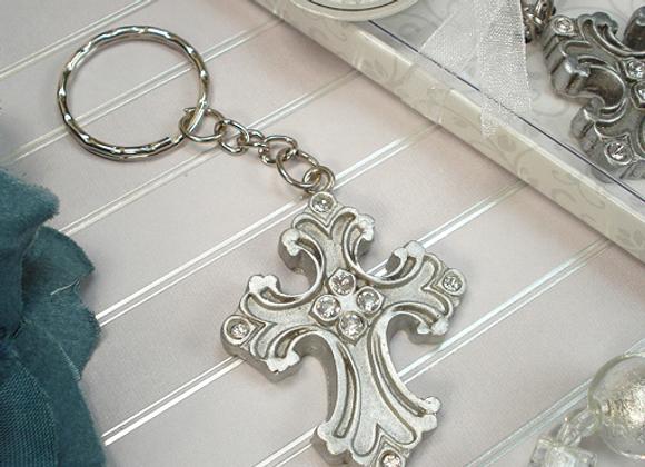 4324 - Antique Silver design cross keychain