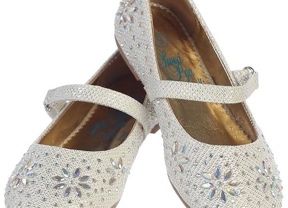 Flower Girl Glitter Shoe (big girls) -ivory